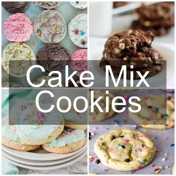 A collage of cake mix cookies - funfetti, chocolate, frosted, and multi-flavor.