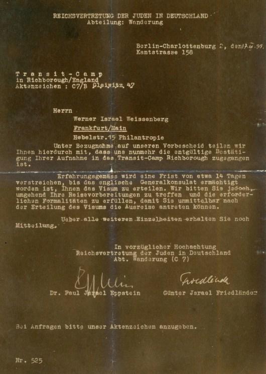 Kitchener Camp acceptance letter 1939