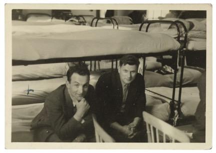 Walter Brill and friend; Kitchener camp hut, 1939