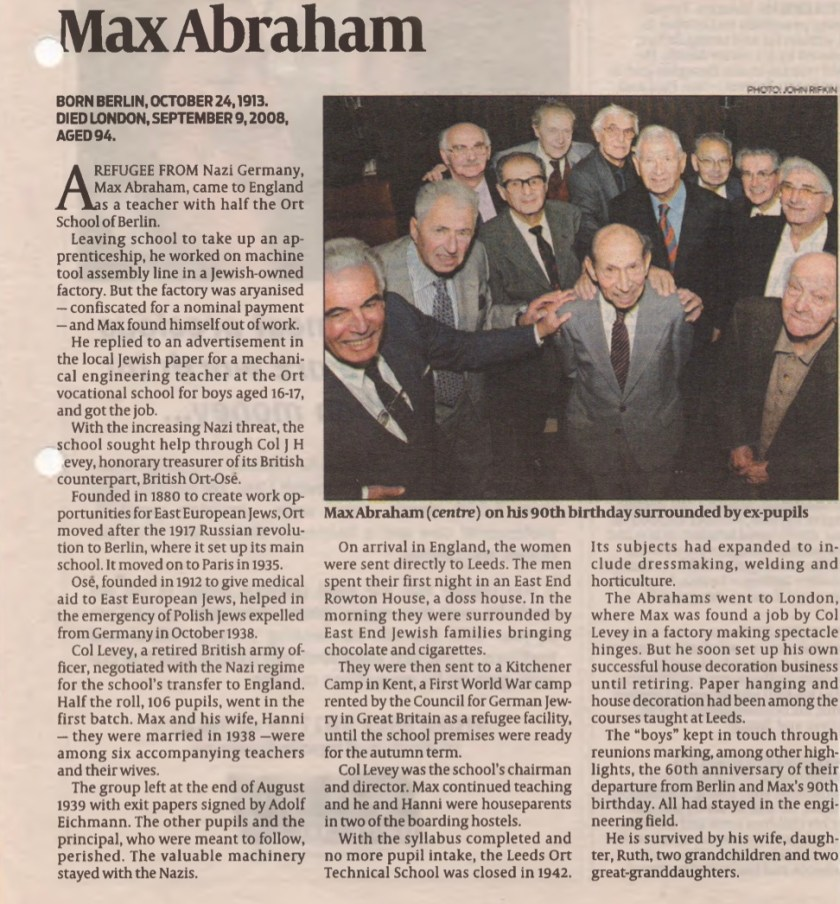 Kitchener camp, Joachim Reissner, Jewish Chronicle article, ORT teacher Max Abraham, 2010