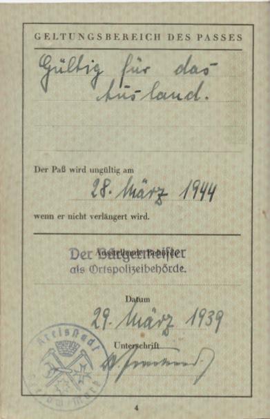 Kitchener camp, Willi Reissner, passport, page 4, 1939