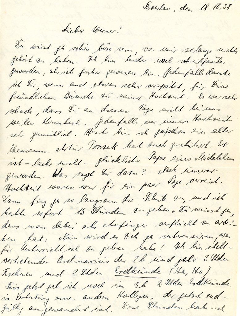 Letter to Werner Weissenberg, from Max Kaiser, 18 October 1938