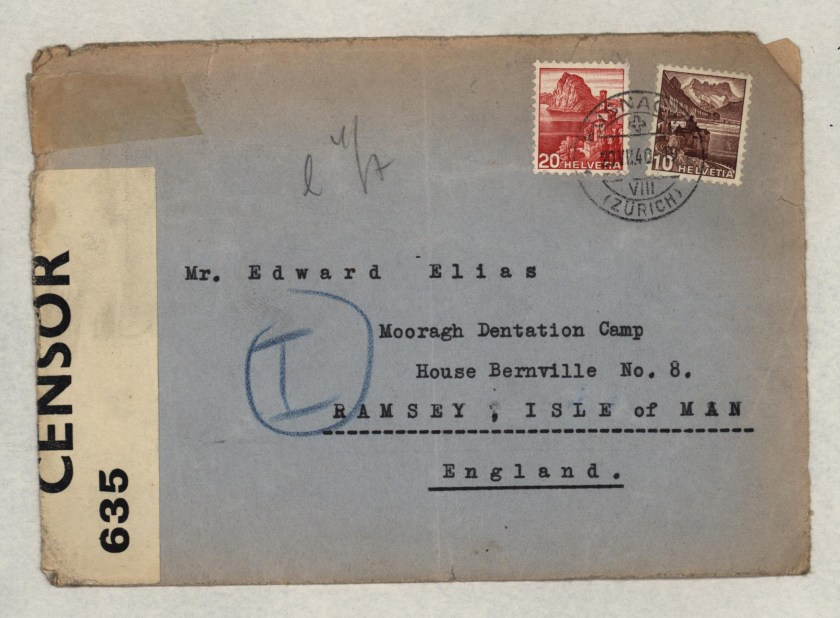 Eduard Elias, Mooragh Detention camp, Isle of Man, Envelope, 20 July 1940
