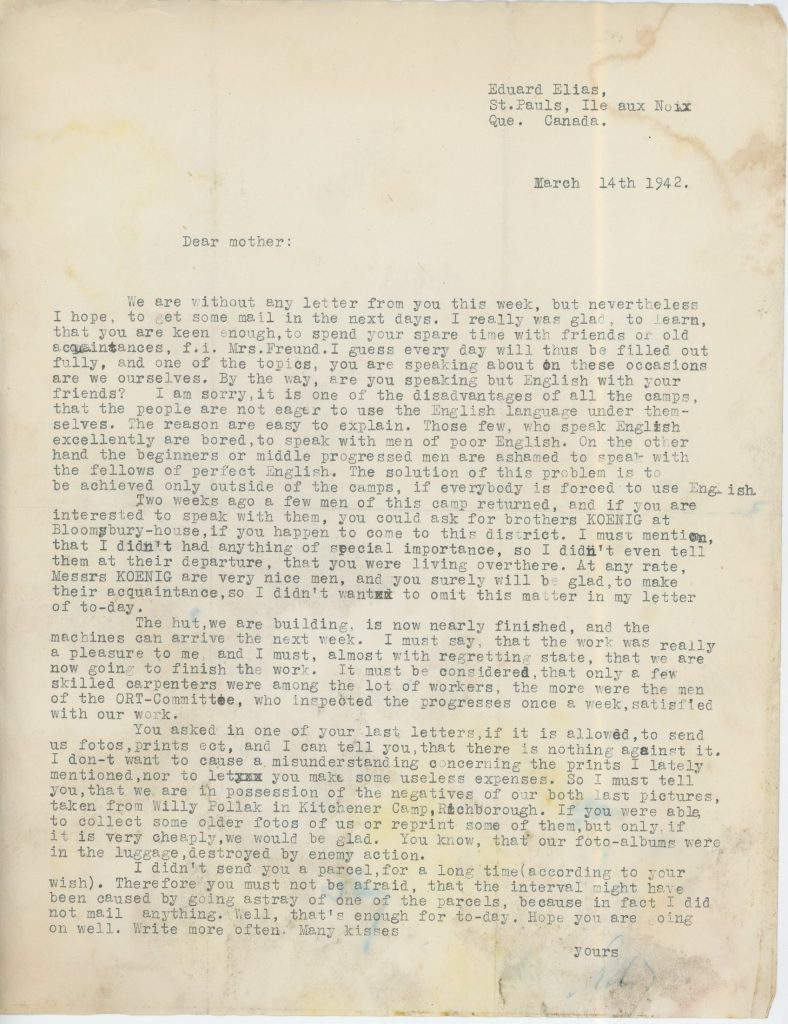 Canada camp, Eduard Elias, Letter 14 March 1942, ORT, Bloomsbury House