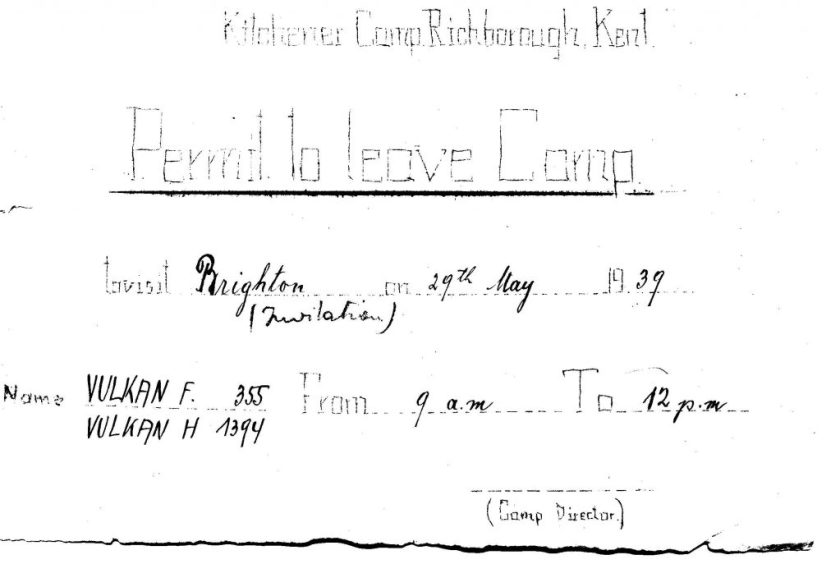 Kitchener camp, permit to leave camp, Ferdinand Vulkan, 29 May 1939