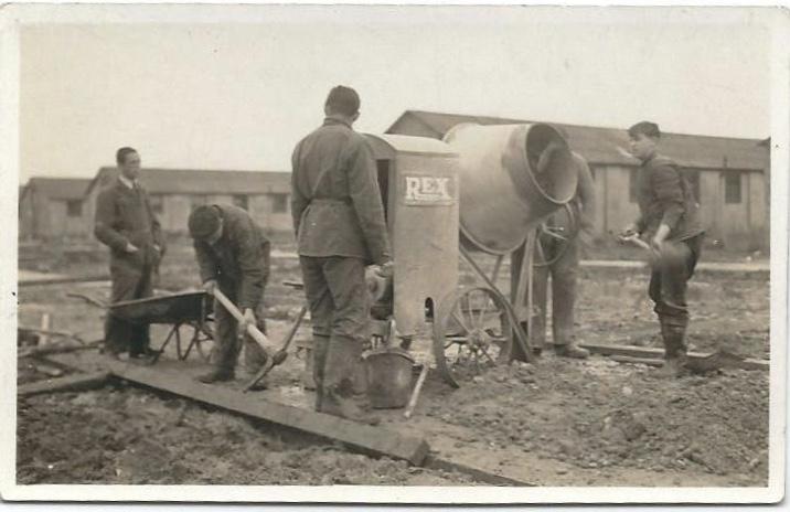 Richborough camp, Herbert Nachmann, on the right, holding a shovel.