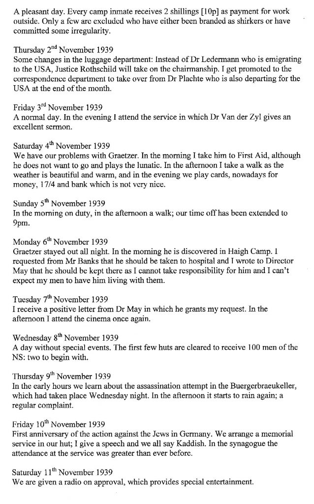 Lothar Nelken, Richborough Camp diary, 1939 to 1940, page 14, 2 November to 11 November 1939