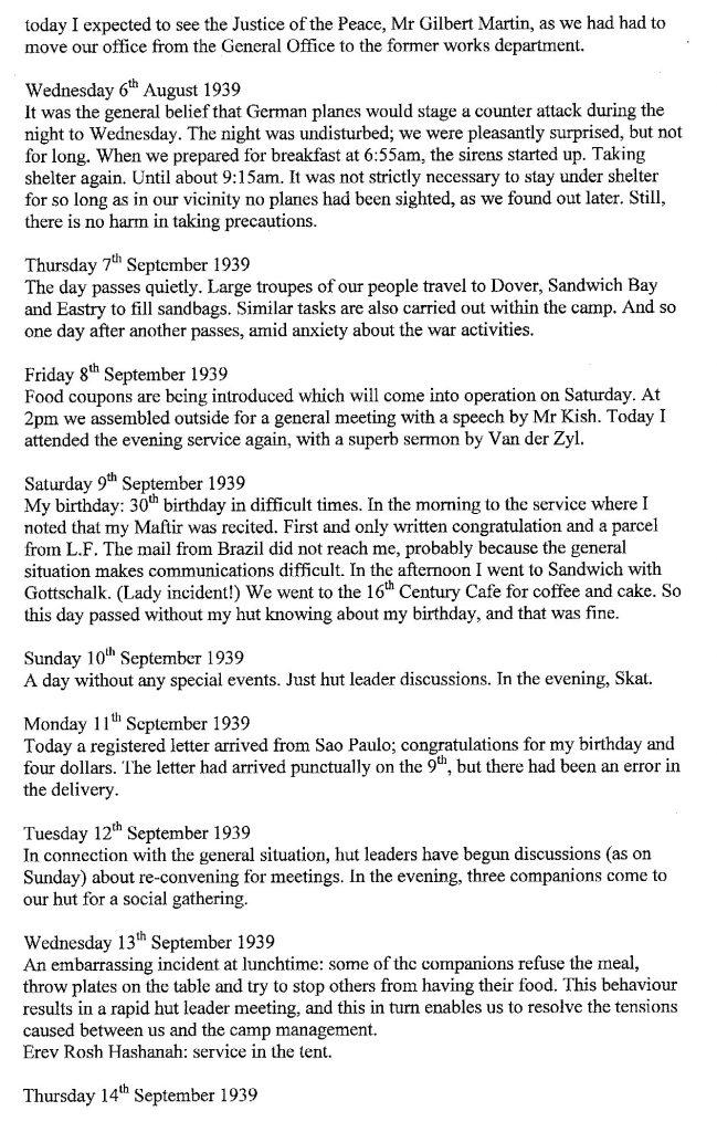 Lothar Nelken, Richborough Camp diary, 1939 to 1940, page 8, 6 September to 14 September 1939