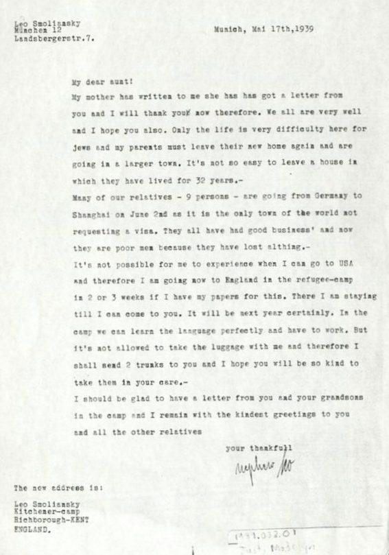 Kitchener camp 1939, Leo Smoliansky, Letter, 17 May 1939