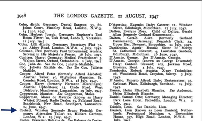 Richborough transit camp, Bruno Pietsch, London Gazette 1947, change of name