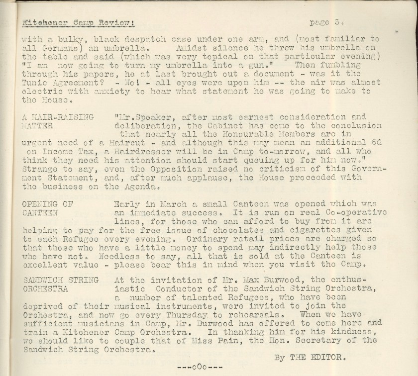 Kitchener Camp Review, April 1939, page 3, top