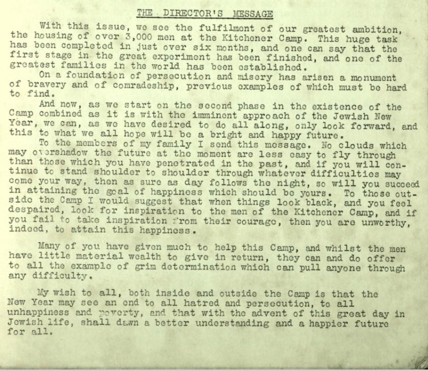 Kitchener Camp Review, no. 7, September 1939, Editorial, base
