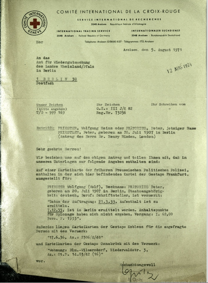 Kitchener camp, Wolfgang Priester, Letter, Red Cross, 12 August 1971, Gestapo