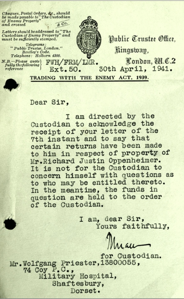 Kitchener camp, Wolfgang Priester, Letter 30 April 1941, Public Trustee Office, 74 Coy Pioneer Corps, Military Hospital