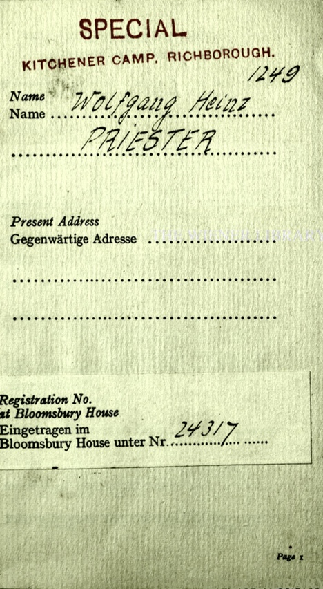 Kitchener camp, Wolfgang Priester, German Jewish Aid Committee, Bloomsbury House, Jewish Board of Deputies, Woburn House, Guidance to all Refugees, page 1, Registration number 24317