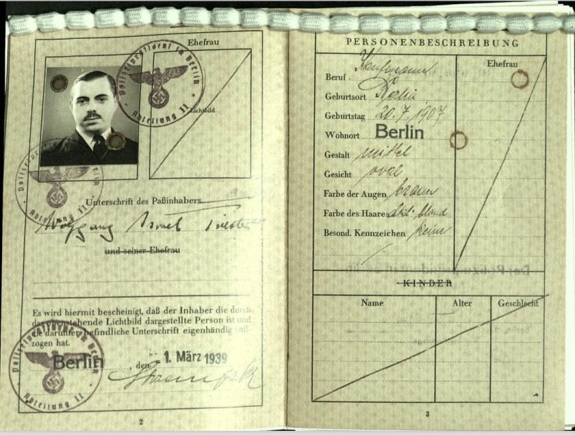 Wolfgang Priester, Reisepass, Deutsches Reich, Document, German passport, photograph