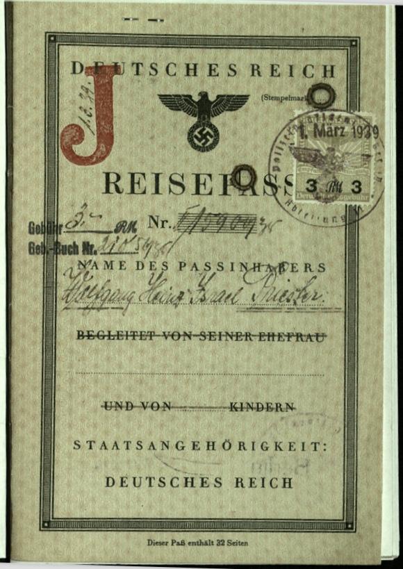 Wolfgang Priester, Reisepass, Deutsches Reich, Document, German passport, J