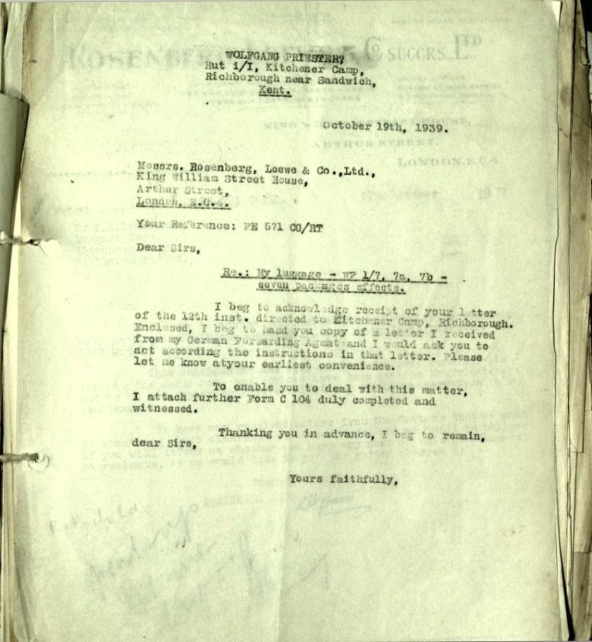 Kitchner camp, Hut 1/II, Wolfgang Priester, Letter, 19 October 1939, Rosenberg Loewe, Luggage