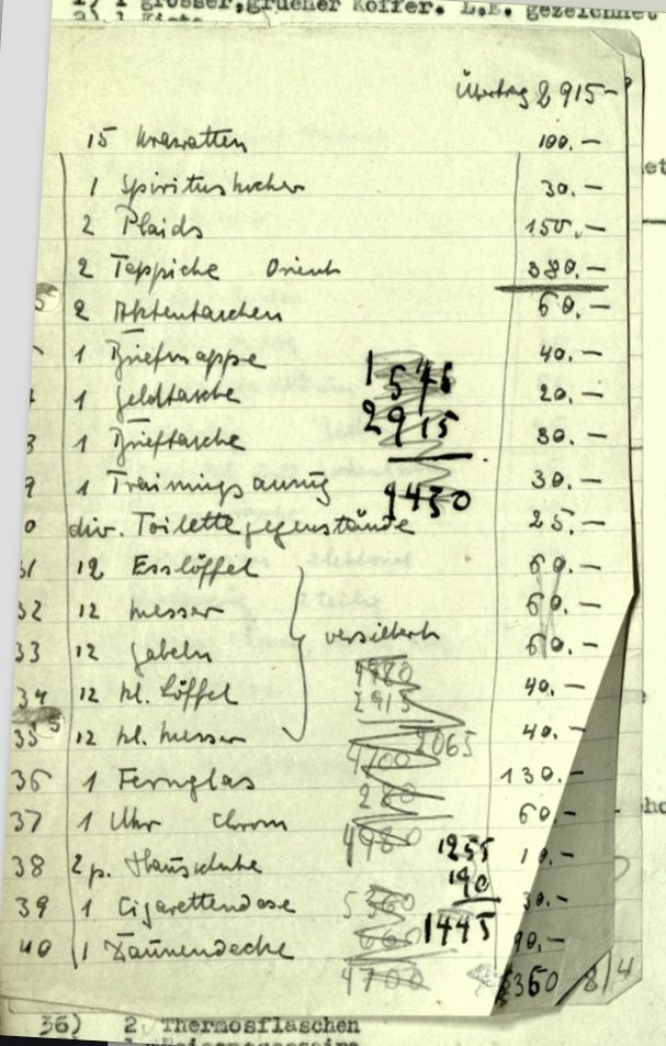 Kitchener camp, Wolfgang Priester, Document, Leaving Germany, List of articles, values