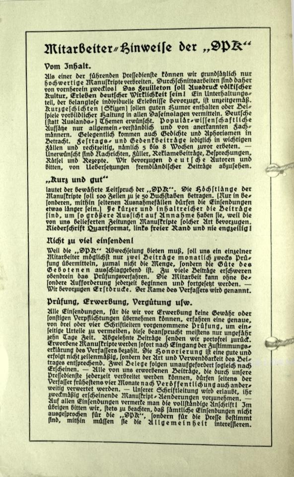 Richborough transit camp, Wolfgang Priester, Pamphlet, Deutßche Preße = Korreßpondenz, nd, reverse