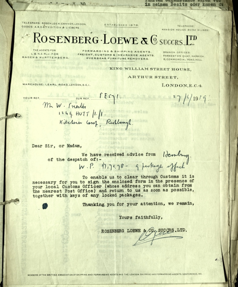 Kitchener camp, Wolfgang Priester, Letter, 17 June 1939, Rosenberg Loewe and Co., Luggage, Customs Office