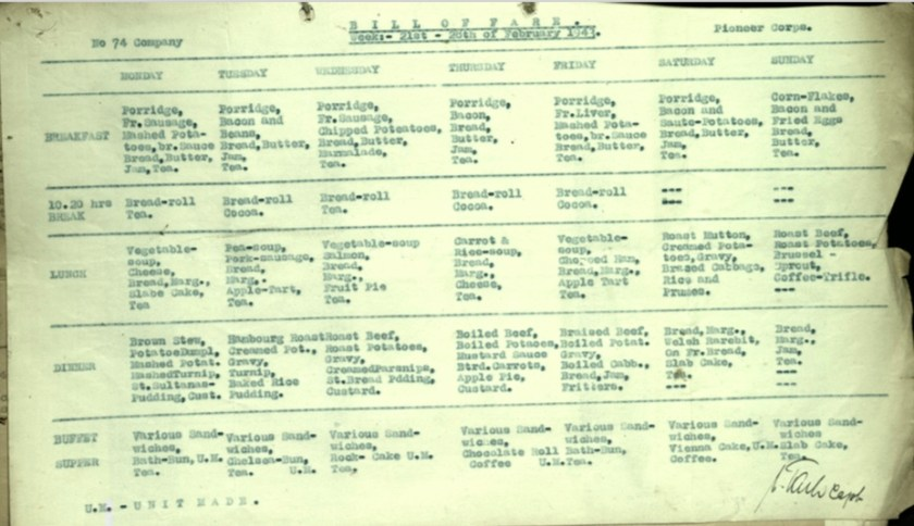 Wolfgang Priester, Pioneer Corps, 74th Company, Bill of Fare week 21 to 28 February 1943