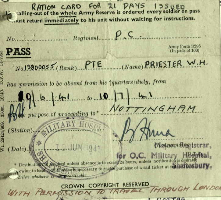 Wolfgang Priester, Pioneer Corps, 74 Coy, Ration card for 21 days, Military Hospital, Pass with premission to travel through London, 19 June 1941 to 10 July 1941, OC Military Hospital Shaftesbury