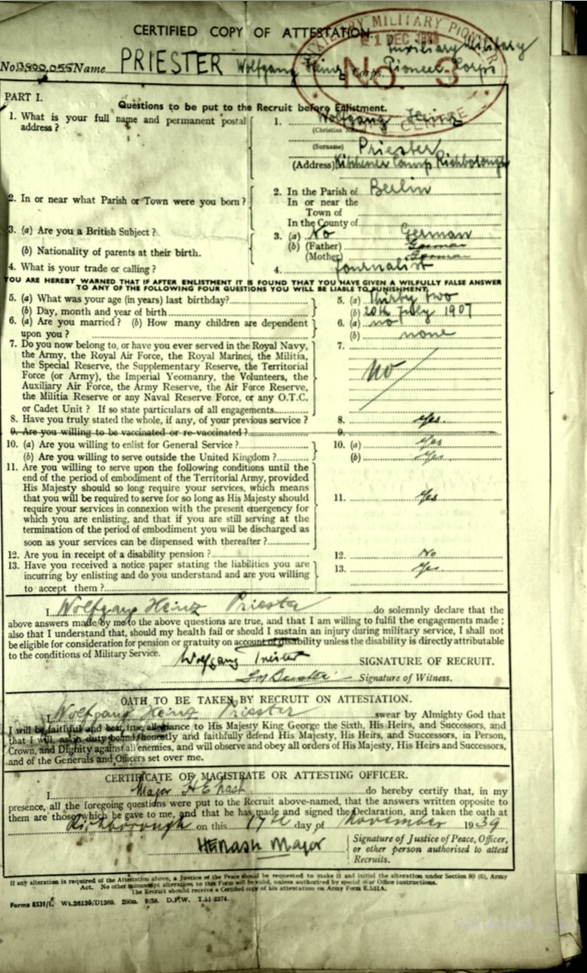Kitchener camp, Wolfgand Priester, Army Form E 531A, Certified copy of Attestation, Auxillirary Military Pioneer Corps, No. 3 Centre, 17 November 1939