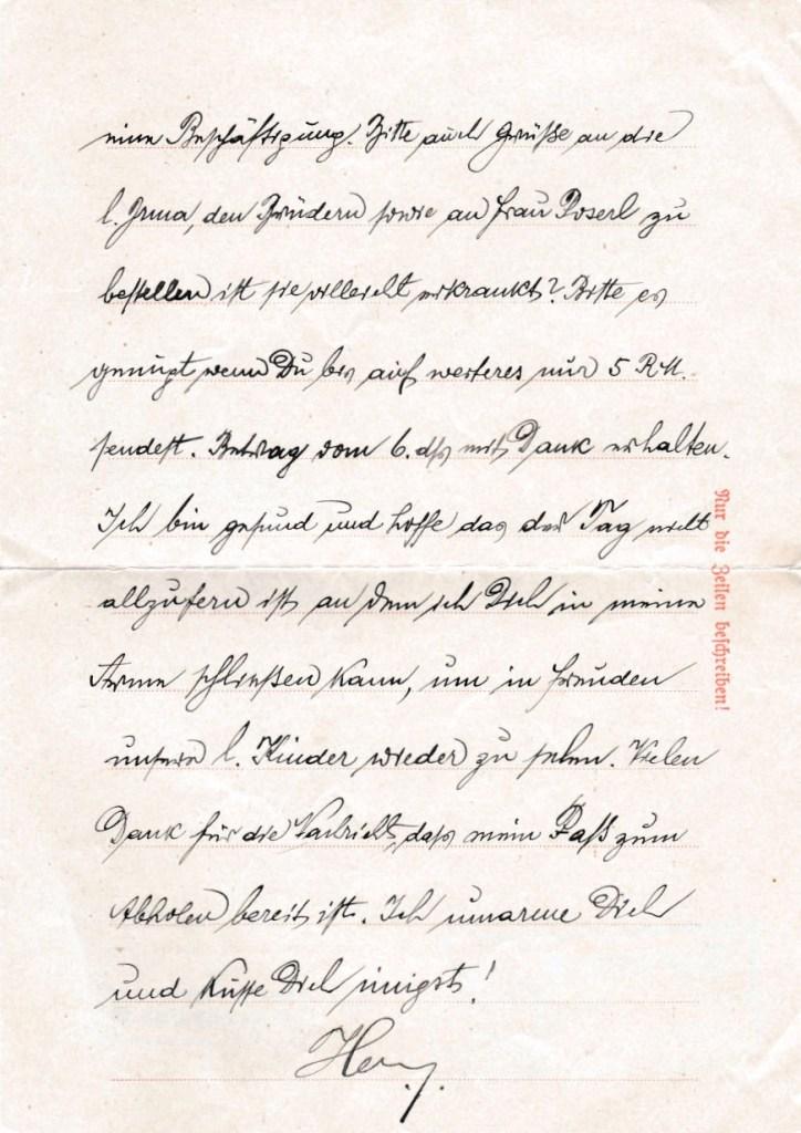 Kitchener camp, Adolf Pollatschek, Letter, Buchenwald 19 March 1939, last letter my grandfather sent my aunt in Vienna on Buchenwald paper on the 19th March 1939, Sent just before release, page 3