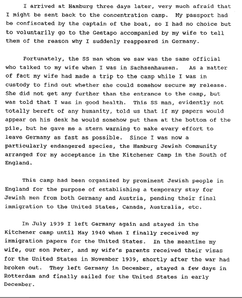 Richborough refugee camp, Werner Gembecki, 1915 to 1995, return to Hamburg, SS, Paperwork problems, Risk of imprisonment, July 1939 Kitchener camp, Family sailed for USA December 1939, page 4