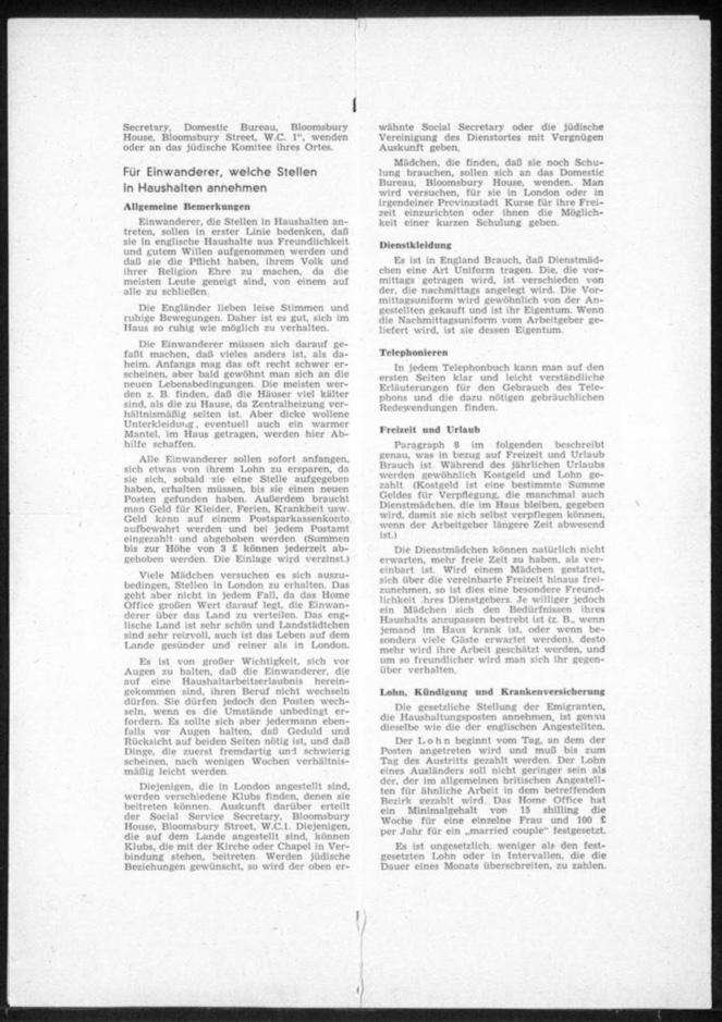 Kitchener camp, Hut 36/II, Document, Werner Gembicki, Wife Vera, Domestic Service Visa, Als Hausangestelte in England, page 2