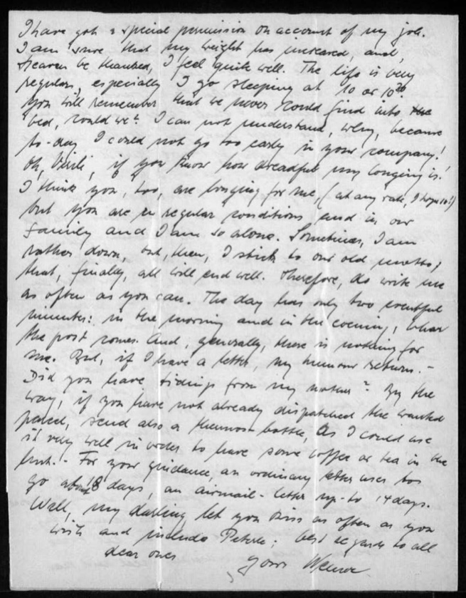 """Kitchener camp, Werner Gembicki, Letter, Advantage of eating twice in the evenings - the ordinary meal and 'special permisison on account of my job', Weight has increased and feels quite well, Life is very regular, Bed at 10pm, Alone and missing wife, """"Sometimes I am rather down, but, then, I stick to our old motto that, finally, all will end well', """"the day has only two eventful minutes: in the morning and in the evening, when the post comes', 30 November 1939, page 4"""