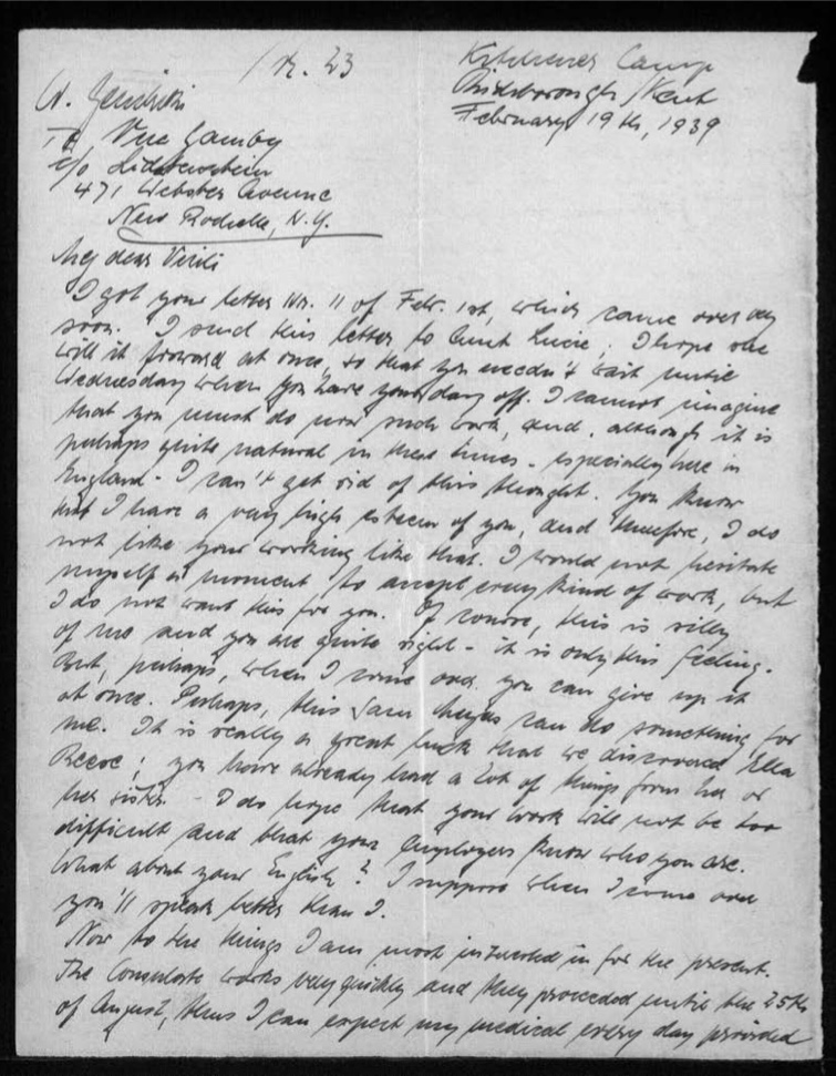 Werner Gembicki, Kitchener camp, Letter, Dislikes wife working so hard, Consulate works quickly, 19 February 1939, page 1