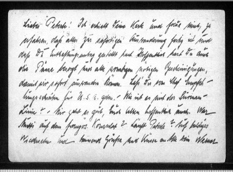 Werner Gembicki, Postcard, Konzentrationslager Sachsenhausen, Oranienburg bei Berlin, From Vera Gembicki (wife), Number 8485, 14 December 1938, reverse