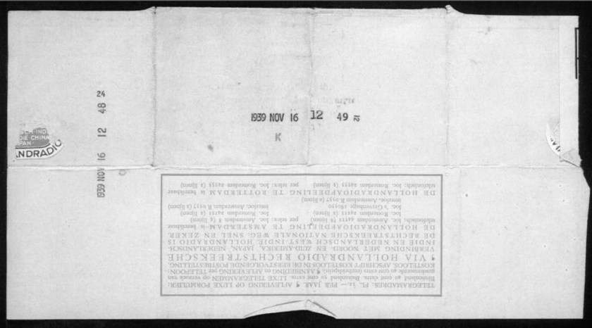 Werner Gembicki, Kitchener camp, Telegram, Holland-America Line, Rotterdam, Good luck, Sandwich, 16 November 1939, reverse