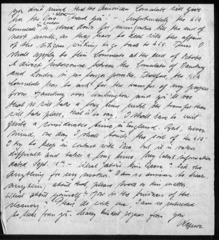 Werner Gembicki, Richborough refugee camp, Letter, Tribunal, Wish to fight, Family and American consulate for passports, 29 August 1939, page 2