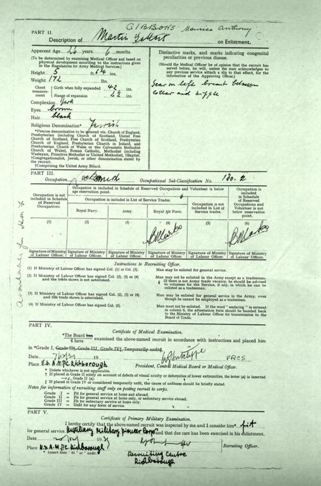 Kitchener camp, Martin Gellert, Document, Auxiliary Millitary Pioneer Corps Richborough, Medical Examination, 7 December 1939