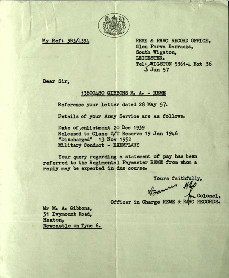 Kitchener camp, Martin Gellert, Letter, REME and RAVC Record office, Exemplary conduct, 5 June 1957