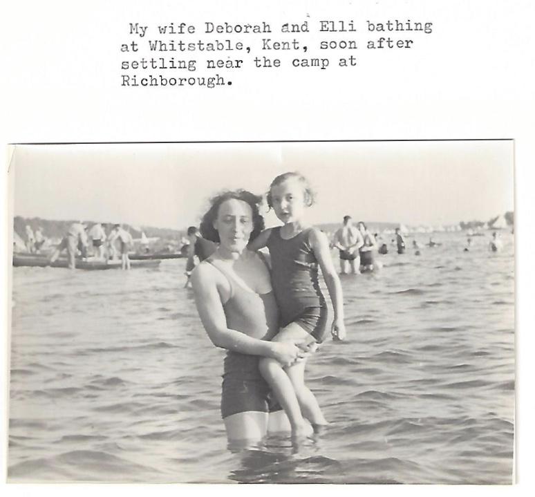 Richborough transmigrant camp, Manele Spielmann, Debora and Elli at Whitstable, Kent, soon after settling near Kitchener camp