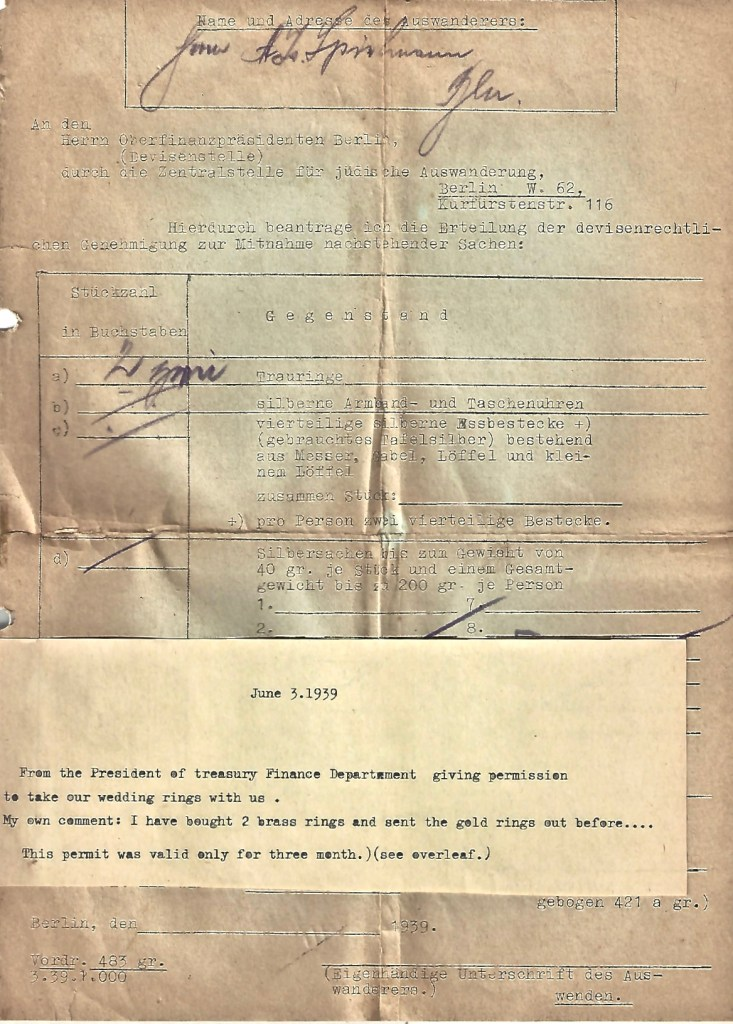 Kitchener camp, Manele Spielmann, Document, Permisison to take wedding rings out of Germany, Berlin, 3 June 1939