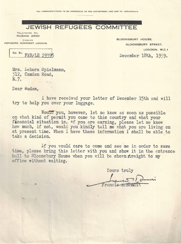 Kitchener camp, Manele Spielmann, Letter, Jewish Refugees Committee, Bloomsbury House, Luggage, Permit for UK entry, Amount earned, Francis Bendit, 18 December 1939