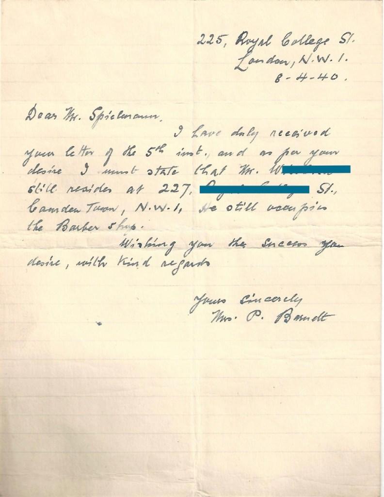 Kitchener camp, Manele Spielmann, Letter, 8 April 1940