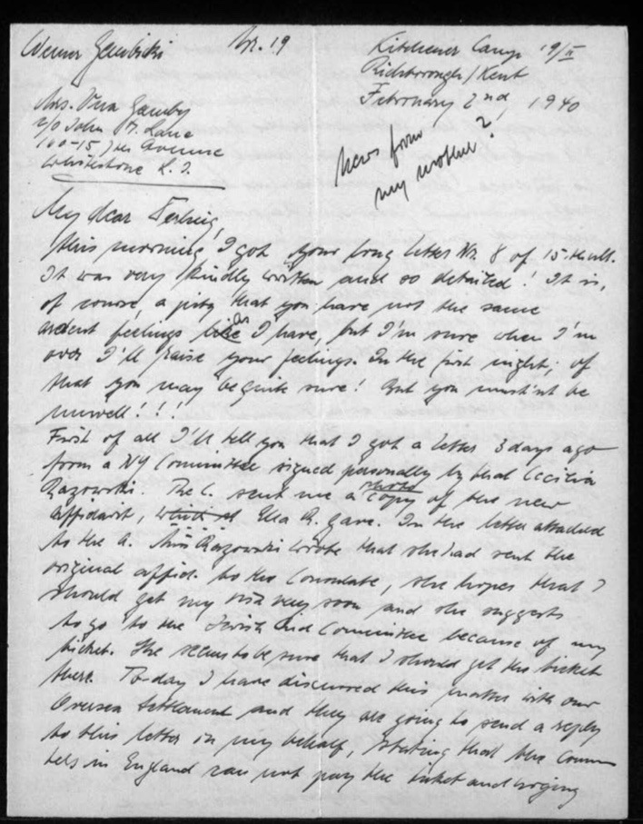 Kitchener camp, Werner Gembicki, Letter, Missing wife, New affidavit, Jewish Aid Committee, Overseas Settlement will send a reply, 2 February 1940, page 1
