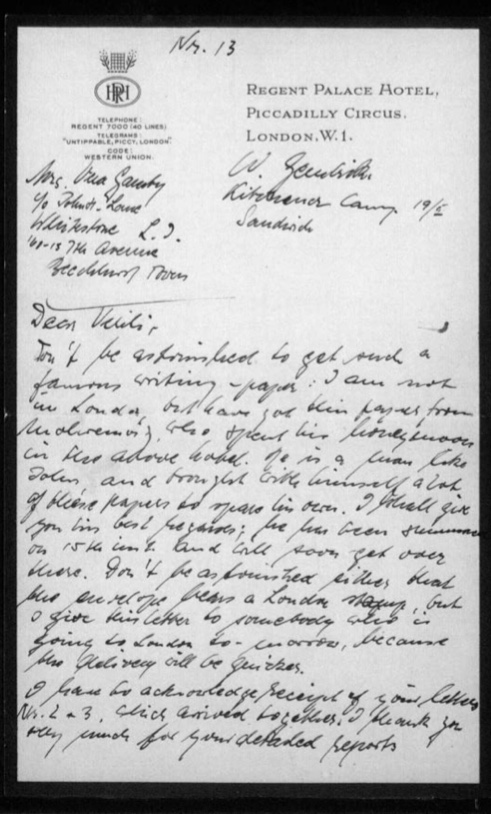 Werner Gembicki, Kitchener camp, Letter, Got some free writing paper from a friend on honeymoon at Regent Palace Hotel, London, page 1
