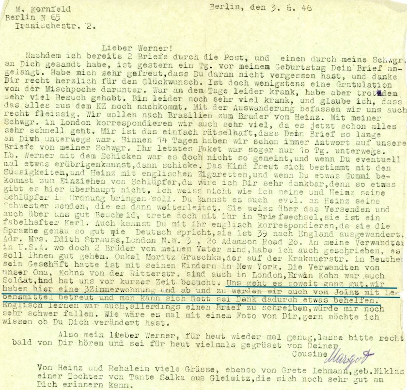 Kitchener camp, Werner Weissenberg, Letter, From a surviving cousin liberated from Theresienstadt, Helped by the American Jewish Joint Distribution Committee, Berlin, 3 June 1946