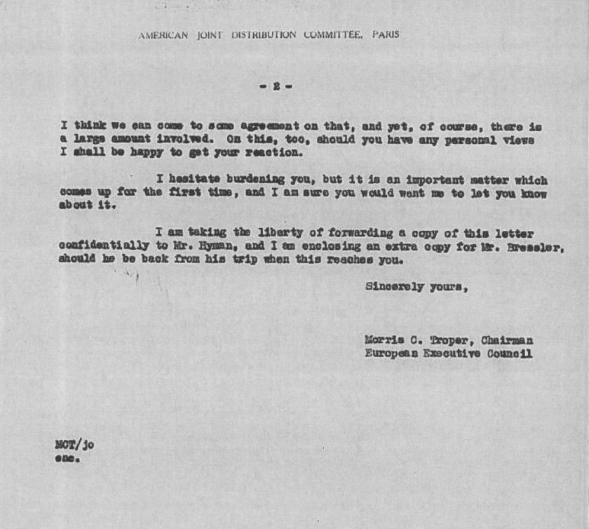 Kitchener camp, JDC, Paul Baerwald, Morris Troper, European Executive Council, Letter, Large amount of money, Mr Hyman, Mr Bressler, 10 January 1939, page 2