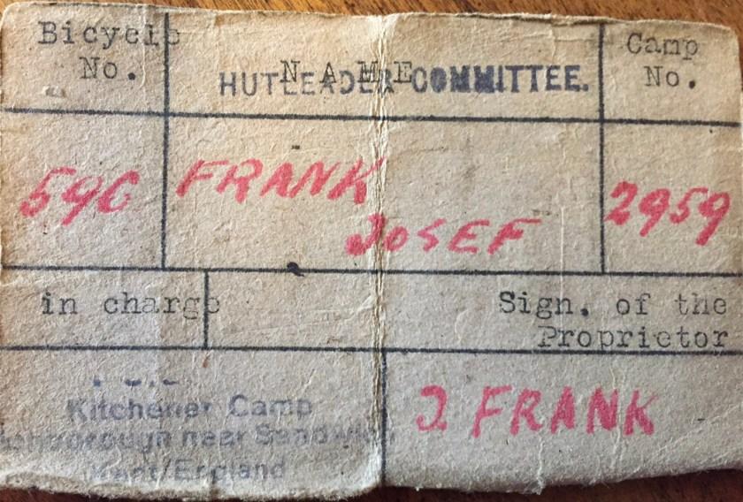 Richborough transit camp, Josef Frank, Hut leader Committee, Bicycle no. 596, Camp no. 2959,