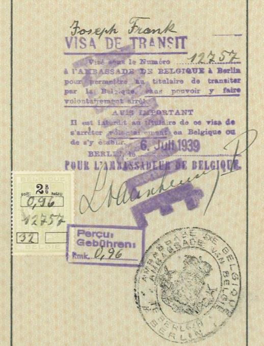 Kitchener camp, Josef Frank, Reisepass, Visa de Transit no. 12757, 6 July 1939, Belgian ambassador in Berlin