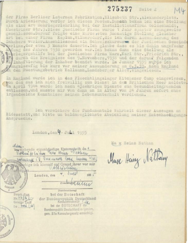 Kitchener camp, Max Heinz Nathan, Restitution claim, 4 July 1955