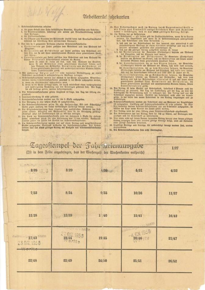 Kitchener camp, Josef Frank, Form, Deutßche Reichsbahn, A worker return ticket, 15 September 1938, page 2